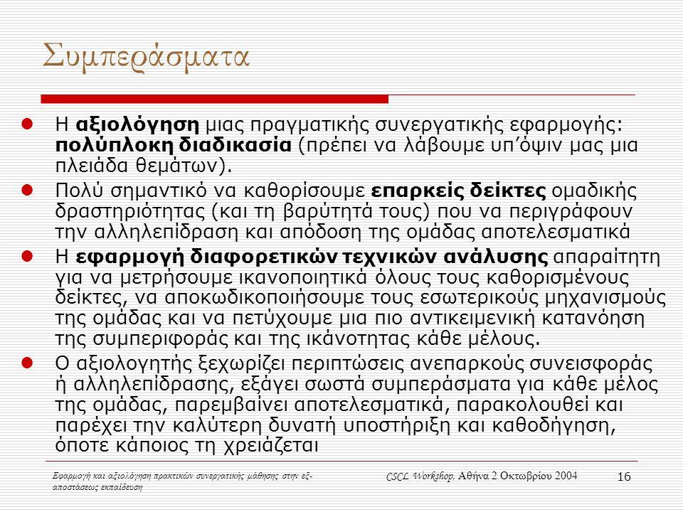 Εφαρμογή και αξιολόγηση πρακτικών συνεργατικής μάθησης στην εξ- αποστάσεως εκπαίδευση CSCL Workshop, Αθήνα 2 Οκτωβρίου 2004 16 Συμπεράσματα Η αξιολόγηση μιας πραγματικής συνεργατικής εφαρμογής: πολύπλοκη διαδικασία (πρέπει να λάβουμε υπ'όψιν μας μια πλειάδα θεμάτων).