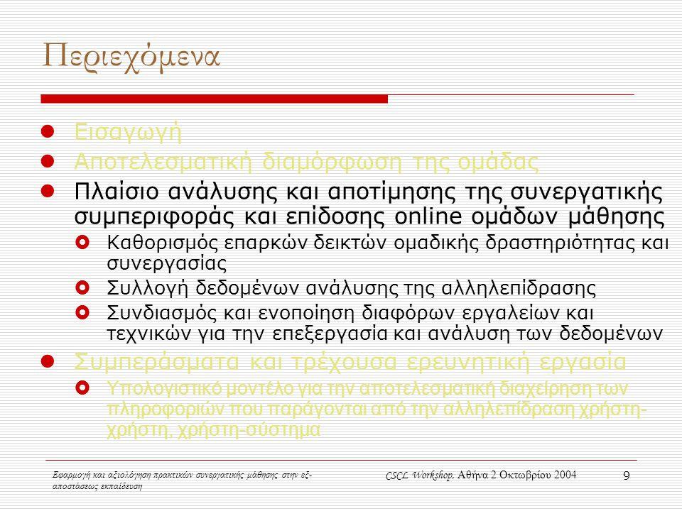 Εφαρμογή και αξιολόγηση πρακτικών συνεργατικής μάθησης στην εξ- αποστάσεως εκπαίδευση CSCL Workshop, Αθήνα 2 Οκτωβρίου 2004 9 Περιεχόμενα Εισαγωγή Αποτελεσματική διαμόρφωση της ομάδας Πλαίσιο ανάλυσης και αποτίμησης της συνεργατικής συμπεριφοράς και επίδοσης online ομάδων μάθησης  Καθορισμός επαρκών δεικτών ομαδικής δραστηριότητας και συνεργασίας  Συλλογή δεδομένων ανάλυσης της αλληλεπίδρασης  Συνδιασμός και ενοποίηση διαφόρων εργαλείων και τεχνικών για την επεξεργασία και ανάλυση των δεδομένων Συμπεράσματα και τρέχουσα ερευνητική εργασία  Υπολογιστικό μοντέλο για την αποτελεσματική διαχείρηση των πληροφοριών που παράγονται από την αλληλεπίδραση χρήστη- χρήστη, χρήστη-σύστημα