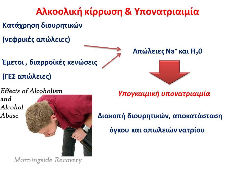 Αλκοολική κίρρωση & Υπονατριαιμία Κατάχρηση διουρητικών (νεφρικές απώλειες) Έμετοι, διαρροϊκές κενώσεις (ΓΕΣ απώλειες) Απώλειες Νa + και Η 2 0 Υπογκαι