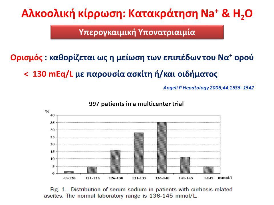 Υπερογκαιμική Υπονατριαιμία Ορισμός : καθορίζεται ως η μείωση των επιπέδων του Να + ορού < 130 mEq/L με παρουσία ασκίτη ή/και οιδήματος Angeli P Hepat