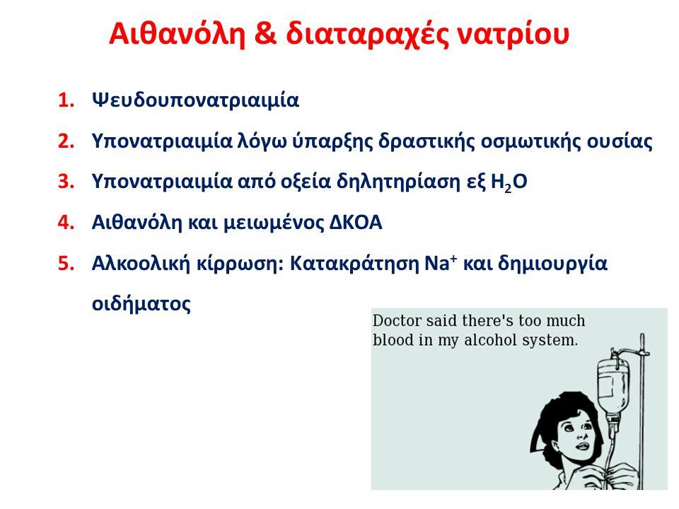 Αιθανόλη & διαταραχές νατρίου 1.Ψευδουπονατριαιμία 2.Υπονατριαιμία λόγω ύπαρξης δραστικής οσμωτικής ουσίας 3.Υπονατριαιμία από οξεία δηλητηρίαση εξ Η