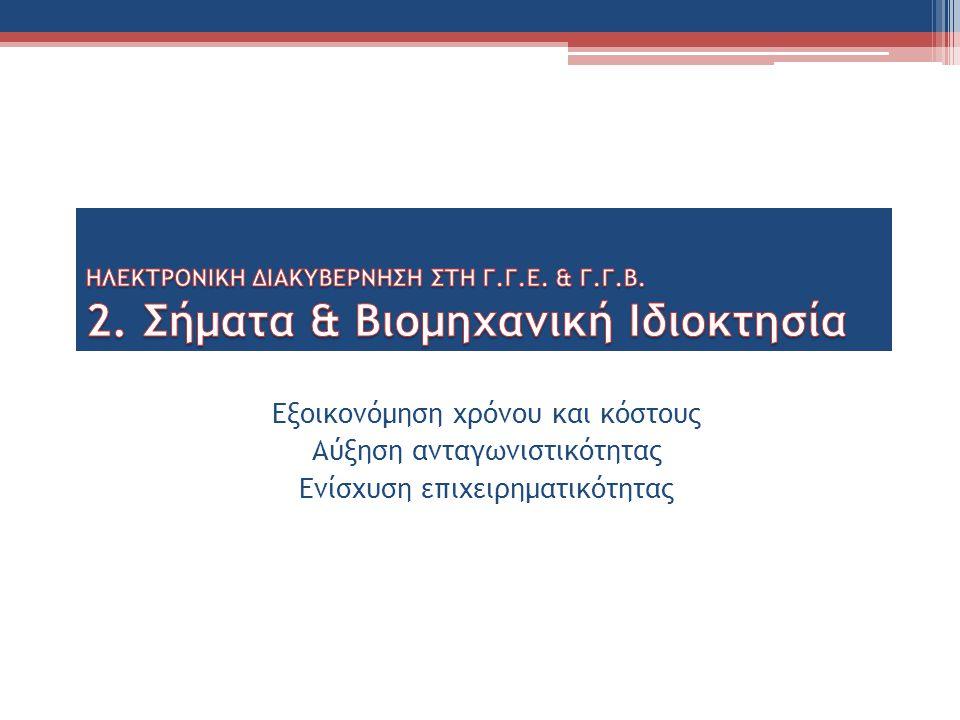 Δράσεις: Ηλεκτρονικοποίηση διαδικασιών κατάθεσης Σήματος & κατοχύρωσης Βιομηχανικής Ιδιοκτησίας με Κοινή Υπουργική Απόφαση των Υπουργών Οικονομικών, Ανάπτυξης & Ανταγωνιστικότητας και Διοικητικής Μεταρρύθμισης.