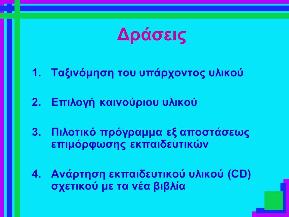 Δράσεις 1.Ταξινόμηση του υπάρχοντος υλικού 2.Επιλογή καινούριου υλικού 3.Πιλοτικό πρόγραμμα εξ αποστάσεως επιμόρφωσης εκπαιδευτικών 4.Ανάρτηση εκπαιδε