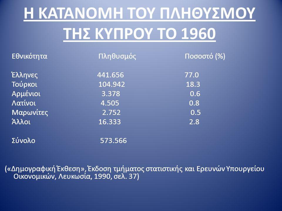 Η ΚΑΤΑΝΟΜΗ ΤΟΥ ΠΛΗΘΥΣΜΟΥ ΤΗΣ ΚΥΠΡΟΥ ΤΟ 1960 Εθνικότητα Πληθυσμός Ποσοστό (%) Έλληνες 441.656 77.0 Τούρκοι 104.942 18.3 Αρμένιοι 3.378 0.6 Λατίνοι 4.50