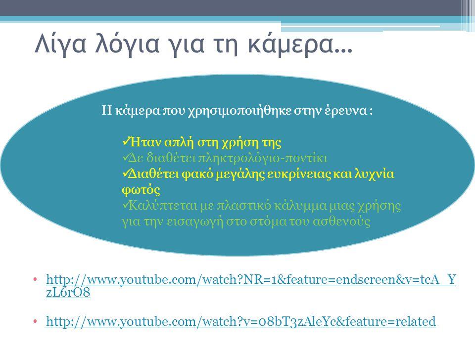 Λίγα λόγια για τη κάμερα… http://www.youtube.com/watch?NR=1&feature=endscreen&v=tcA_Y zL6rO8 http://www.youtube.com/watch?NR=1&feature=endscreen&v=tcA