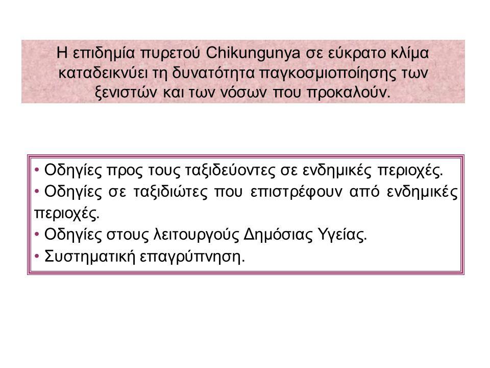 Οδηγίες προς τους ταξιδεύοντες σε ενδημικές περιοχές. Οδηγίες σε ταξιδιώτες που επιστρέφουν από ενδημικές περιοχές. Οδηγίες στους λειτουργούς Δημόσιας