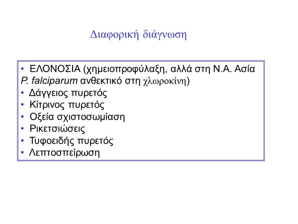 Διαφορική διάγνωση ΕΛΟΝΟΣΙΑ (χημειοπροφύλαξη, αλλά στη Ν.Α. Ασία P. falciparum ανθεκτικό στη χλωροκίνη ) Δάγγειος πυρετός Κίτρινος πυρετός Οξεία σχιστ