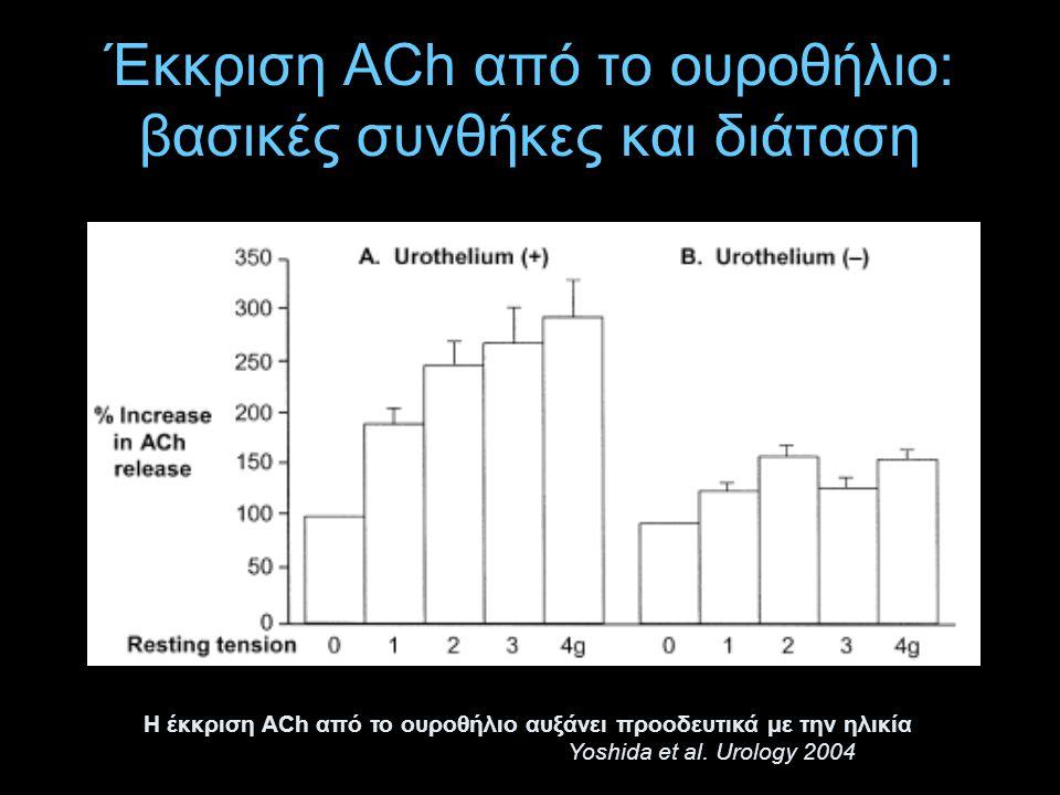 Έκκριση ACh από το ουροθήλιο: βασικές συνθήκες και διάταση Η έκκριση ACh από το ουροθήλιο αυξάνει προοδευτικά με την ηλικία Yoshida et al. Urology 200