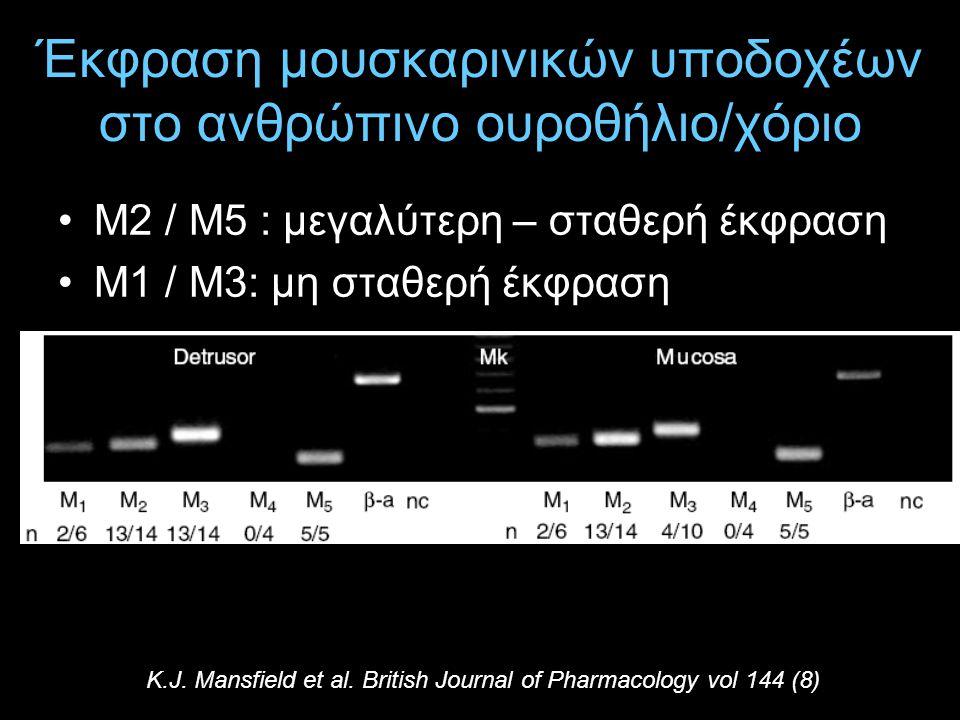 Έκφραση μουσκαρινικών υποδοχέων στο ανθρώπινο ουροθήλιο/χόριο Μ2 / Μ5 : μεγαλύτερη – σταθερή έκφραση Μ1 / Μ3: μη σταθερή έκφραση K.J. Mansfield et al.