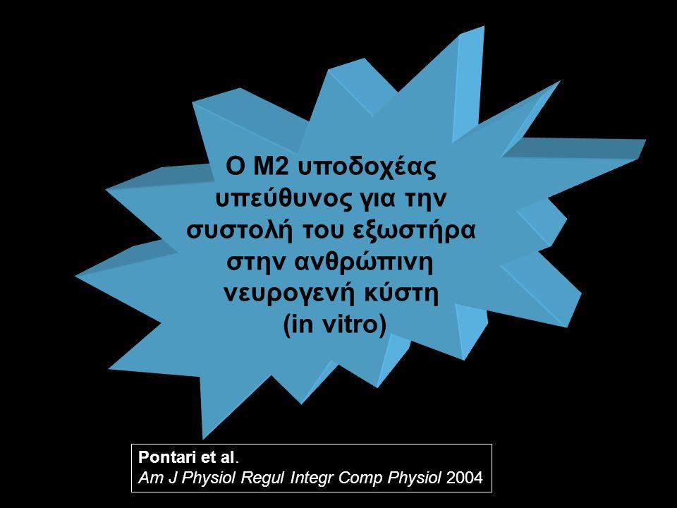 Pontari et al. Am J Physiol Regul Integr Comp Physiol 2004 Ο Μ2 υποδοχέας υπεύθυνος για την συστολή του εξωστήρα στην ανθρώπινη νευρογενή κύστη (in vi