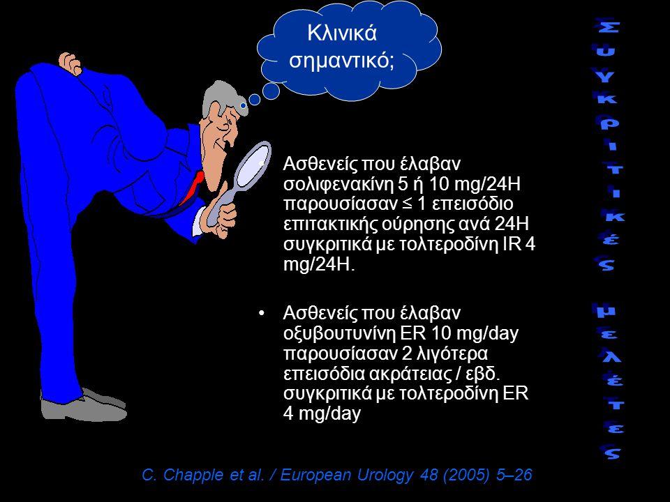 Ασθενείς που έλαβαν σολιφενακίνη 5 ή 10 mg/24Η παρουσίασαν ≤ 1 επεισόδιο επιτακτικής ούρησης ανά 24Η συγκριτικά με τολτεροδίνη IR 4 mg/24Η. Ασθενείς π
