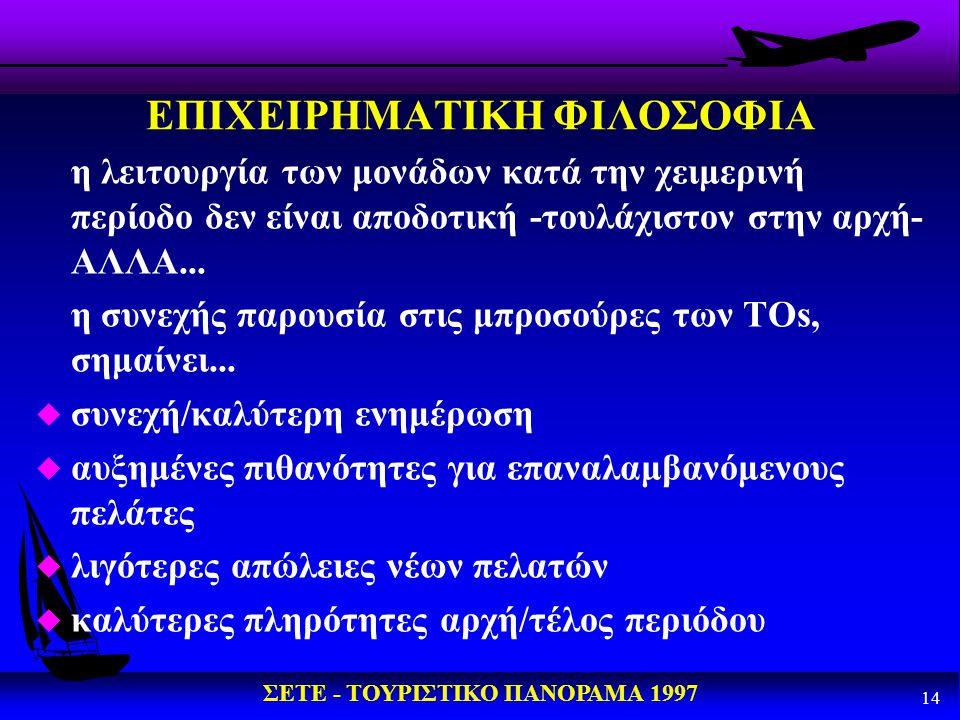 ΣΕΤΕ - ΤΟΥΡΙΣΤΙΚΟ ΠΑΝΟΡΑΜΑ 1997 14 ΕΠΙΧΕΙΡΗΜΑΤΙΚΗ ΦΙΛΟΣΟΦΙΑ η λειτουργία των μονάδων κατά την χειμερινή περίοδο δεν είναι αποδοτική -τουλάχιστον στην