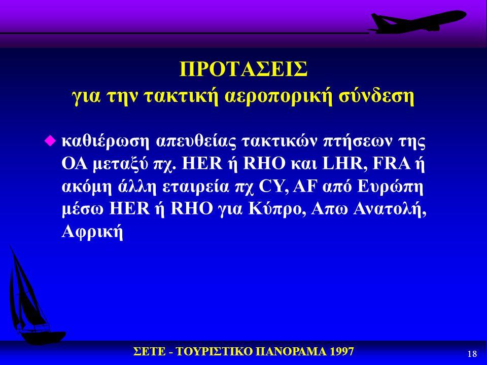 ΣΕΤΕ - ΤΟΥΡΙΣΤΙΚΟ ΠΑΝΟΡΑΜΑ 1997 18 ΠΡΟΤΑΣΕΙΣ για την τακτική αεροπορική σύνδεση u καθιέρωση απευθείας τακτικών πτήσεων της ΟΑ μεταξύ πχ. HER ή RΗΟ και