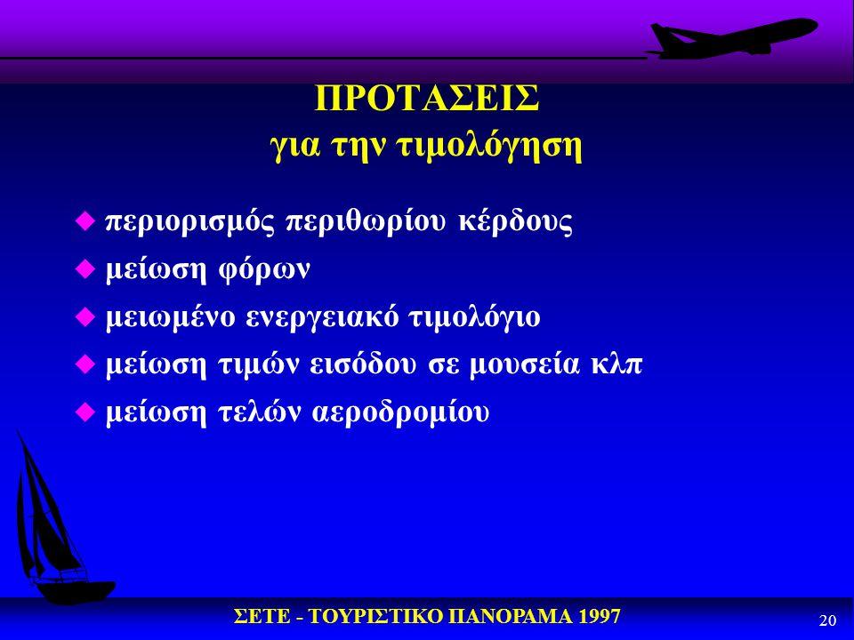 ΣΕΤΕ - ΤΟΥΡΙΣΤΙΚΟ ΠΑΝΟΡΑΜΑ 1997 20 ΠΡΟΤΑΣΕΙΣ για την τιμολόγηση u περιορισμός περιθωρίου κέρδους u μείωση φόρων u μειωμένο ενεργειακό τιμολόγιο u μείω