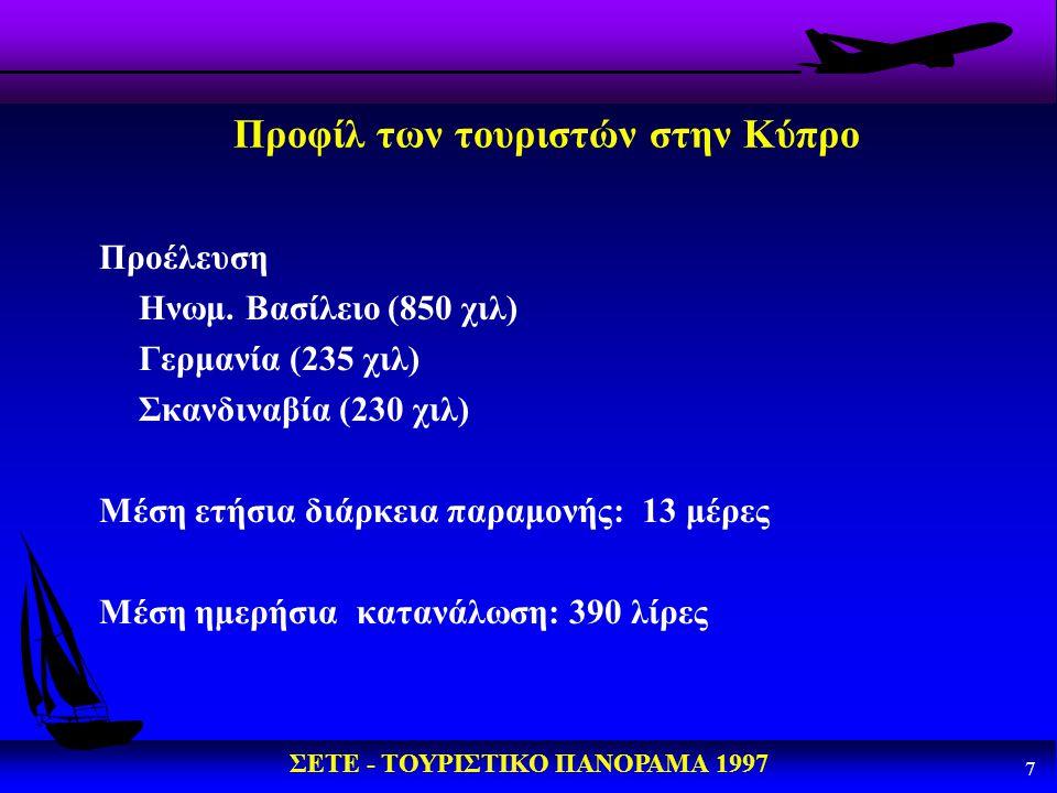 ΣΕΤΕ - ΤΟΥΡΙΣΤΙΚΟ ΠΑΝΟΡΑΜΑ 1997 8 Προφίλ των τουριστών στην Κύπρο (συνέχεια) Τουρίστες της χειμερινής περιόδου u η συντριπτική πλειοψηφία ανω των 50 ετών (το 10% είναι 65+), u ζευγάρια χωρίς φροντίδα παιδιών u μοναδικό ως κυριότερο κίνητρο για την επιλογή του τόπου χειμερινών διακοπών (για το 87% εξ αυτών) η αναζήτηση του ήλιου και του θερμού κλίματος.