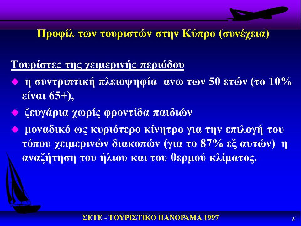 ΣΕΤΕ - ΤΟΥΡΙΣΤΙΚΟ ΠΑΝΟΡΑΜΑ 1997 9 Προφίλ των τουριστών στην Κύπρο (συνέχεια) u μέση διάρκεια παραμονής τους 17 μέρες u ξοδεύουν εως και 30% περισσότερο από τους τουρίστες της θερινής περιόδου u περιορισμένα ενδιαφέροντα πολιτιστικού περιεχομένου και δραστηριοτήτων u καθολική απαίτηση για προσφορά ευρύτατης γκάμας υπηρεσιών και εγκαταστάσεων εκ μέρους των ξενοδοχείων.