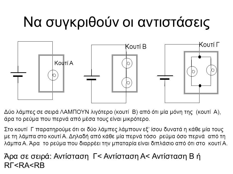 Να συγκριθούν οι αντιστάσεις Κουτί Α Κουτί Β Κουτί Γ Δύο λάμπες σε σειρά ΛΑΜΠΟΥΝ λιγότερο (κουτί Β) από ότι μία μόνη της (κουτί Α), άρα το ρεύμα που περνά από μέσα τους είναι μικρότερο.