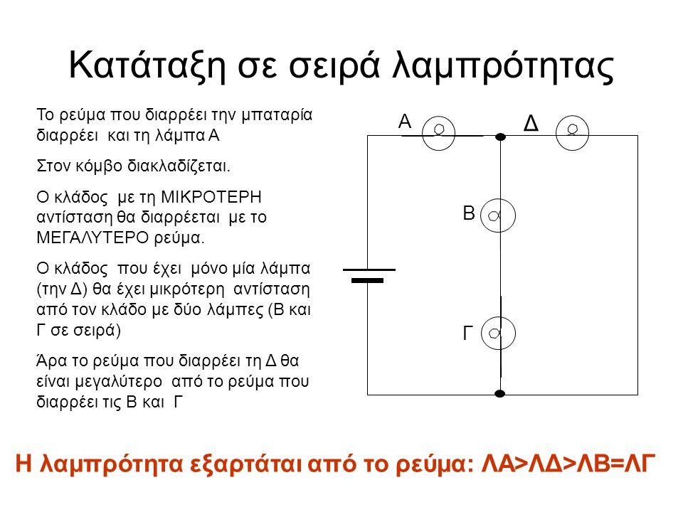 Κατάταξη σε σειρά λαμπρότητας Γ Α Δ Β Το ρεύμα που διαρρέει την μπαταρία διαρρέει και τη λάμπα Α Στον κόμβο διακλαδίζεται. Ο κλάδος με τη ΜΙΚΡΟΤΕΡΗ αν