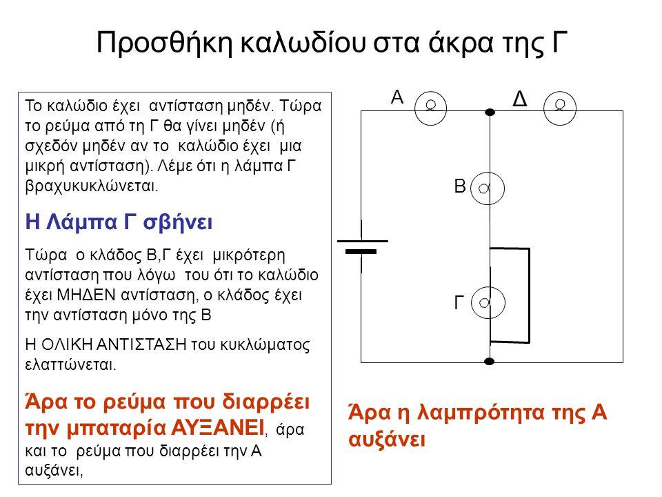 Προσθήκη καλωδίου στα άκρα της Γ Γ Α Δ Β Το καλώδιο έχει αντίσταση μηδέν. Τώρα το ρεύμα από τη Γ θα γίνει μηδέν (ή σχεδόν μηδέν αν το καλώδιο έχει μια