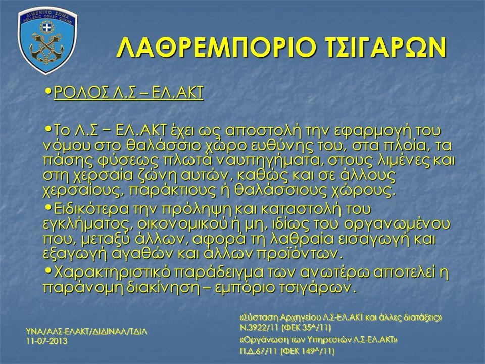 ΡΟΛΟΣ Λ.Σ – ΕΛ.ΑΚΤ ΡΟΛΟΣ Λ.Σ – ΕΛ.ΑΚΤ Το Λ.Σ − ΕΛ.ΑΚΤ έχει ως αποστολή την εφαρμογή του νόμου στο θαλάσσιο χώρο ευθύνης του, στα πλοία, τα πάσης φύσεω
