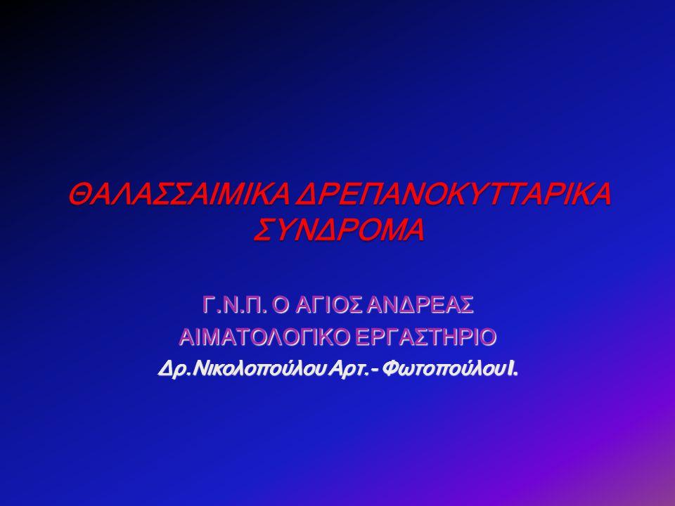 α-θαλασσαιμικά σύνδρομα ΚΛΙΝΙΚΗ ΕΙΚΟΝΑΗΛΕΚΤΡΟΦΟΡΗΤΙΚΑ ΕΥΡΗΜΑΤΑΓΟΝΟΤΥΠΟΣ Εμβρυϊκός ύδρωπαςHb Bart (γ 4 ) μη HbH (β 4 ) λειτουργικές Hb Portland α0 /α0α0 /α0 Αιμοσφαιρινοπάθεια Η HbH: 1-30% HbA HbA 2 : 1-2% Αιμολυτική αναιμία ποικίλης βαρύτητας α 0 /α + Ετερόζυγη και Ομόζυγη α-ΜΑ HbΑ: κ.φ.