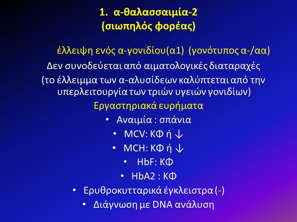 1. α-θαλασσαιμία-2 (σιωπηλός φορέας) έλλειψη ενός α-γονιδίου(α1) (γονότυπος α-/αα) Δεν συνοδεύεται από αιματολογικές διαταραχές (το έλλειμμα των α-αλυ