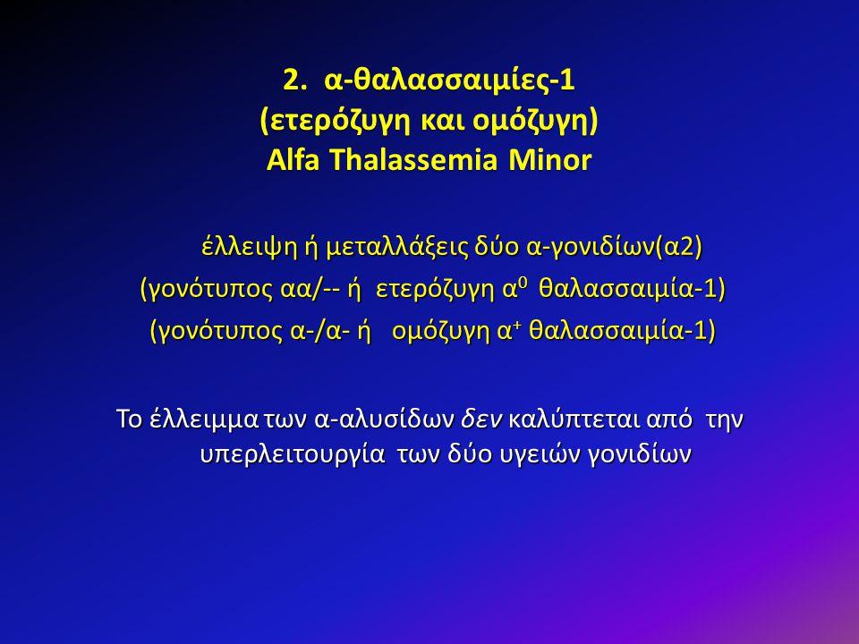 2. α-θαλασσαιμίες-1 (ετερόζυγη και ομόζυγη) Alfa Thalassemia Minor έλλειψη ή μεταλλάξεις δύο α-γονιδίων(α2) (γονότυπος αα/-- ή ετερόζυγη α 0 θαλασσαιμ