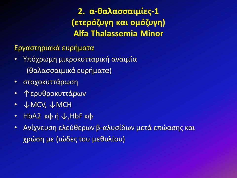 2. α-θαλασσαιμίες-1 (ετερόζυγη και ομόζυγη) Alfa Thalassemia Minor Εργαστηριακά ευρήματα Υπόχρωμη μικροκυτταρική αναιμία Υπόχρωμη μικροκυτταρική αναιμ