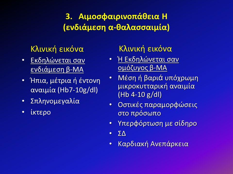 3. Αιμοσφαιρινοπάθεια Η (ενδιάμεση α-θαλασσαιμία) Κλινική εικόνα Κλινική εικόνα Εκδηλώνεται σαν ενδιάμεση β-ΜΑ Εκδηλώνεται σαν ενδιάμεση β-ΜΑ Ήπια, μέ