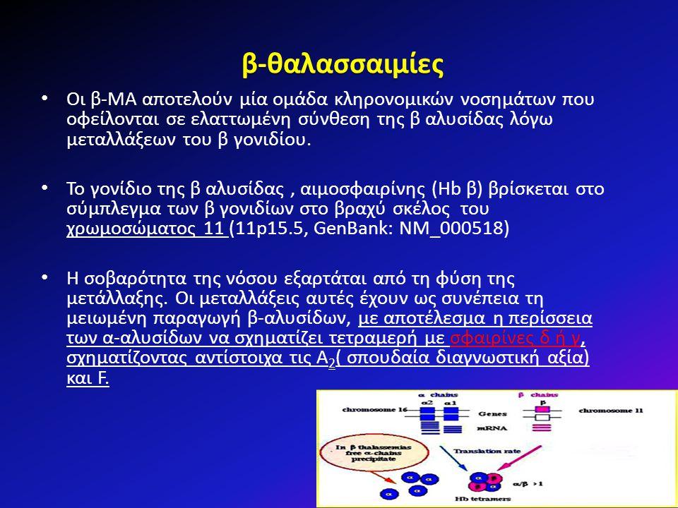 β-θαλασσαιμίες Οι β-ΜΑ αποτελούν μία ομάδα κληρονομικών νοσημάτων που οφείλονται σε ελαττωμένη σύνθεση της β αλυσίδας λόγω μεταλλάξεων του β γονιδίου.