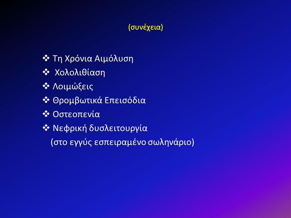 (συνέχεια)  Τη Χρόνια Αιμόλυση  Χολολιθίαση  Λοιμώξεις  Θρομβωτικά Επεισόδια  Οστεοπενία  Νεφρική δυσλειτουργία (στο εγγύς εσπειραμένο σωληνάριο