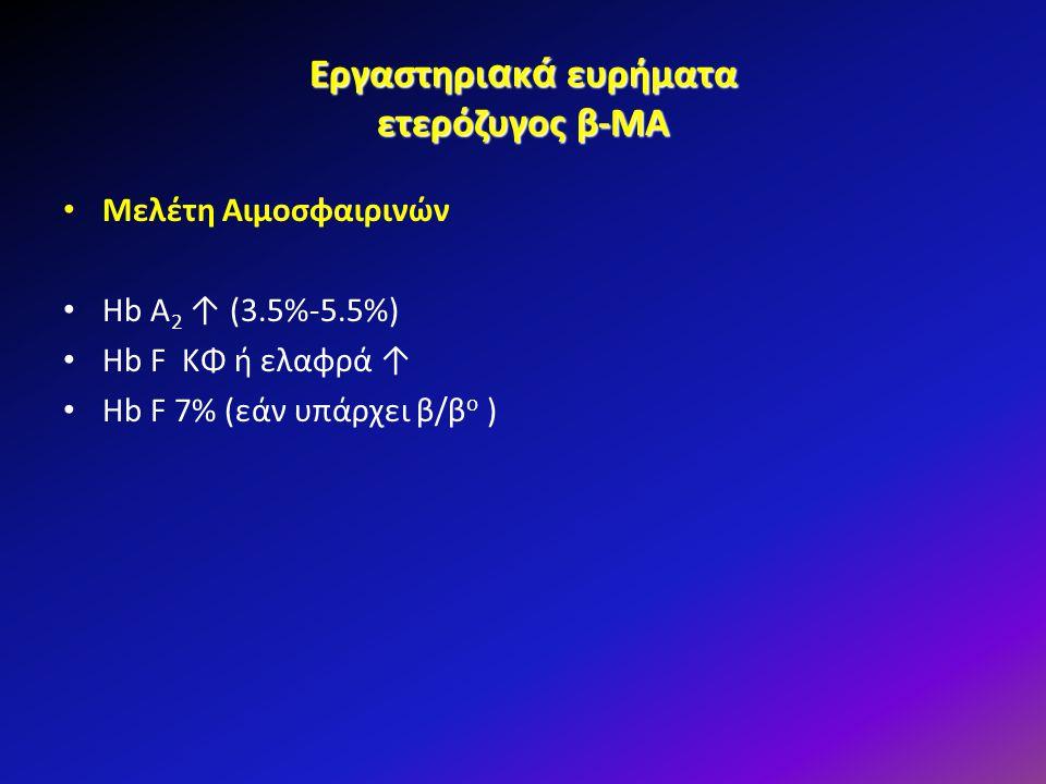 Εργαστηρι α κ ά ευρήματα ετερόζυγος β-ΜΑ Μελέτη Αιμοσφαιρινών Hb A 2 ↑ (3.5%-5.5%) Hb F ΚΦ ή ελαφρά ↑ Hb F 7% (εάν υπάρχει β/β o )