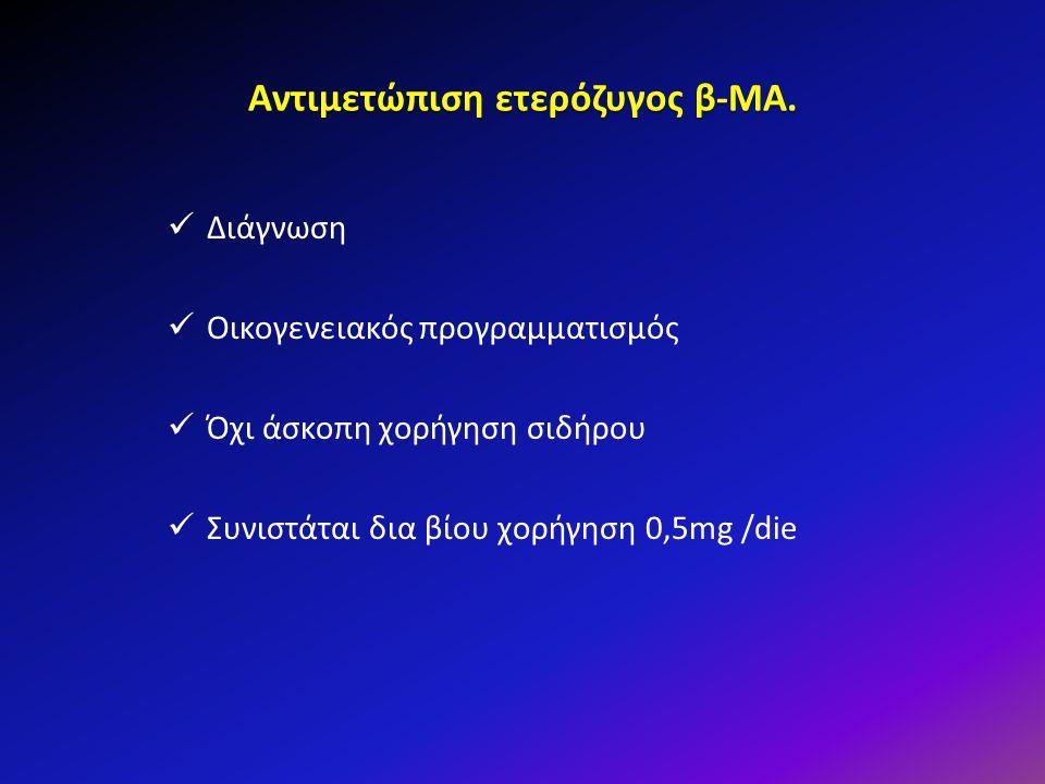 Αντιμετώπιση ετερόζυγος β-ΜΑ. Διάγνωση Οικογενειακός προγραμματισμός Όχι άσκοπη χορήγηση σιδήρου Συνιστάται δια βίου χορήγηση 0,5mg /die