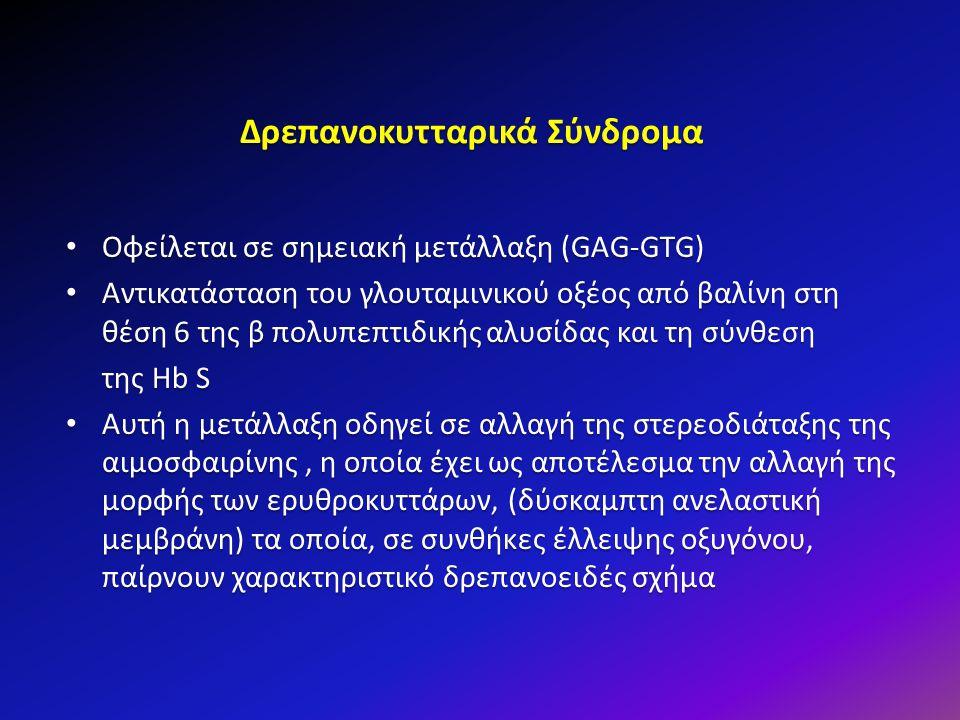 Δρεπανοκυτταρικά Σύνδρομα Οφείλεται σε σημειακή μετάλλαξη (GAG-GTG) Οφείλεται σε σημειακή μετάλλαξη (GAG-GTG) Αντικατάσταση του γλουταμινικού οξέος απ