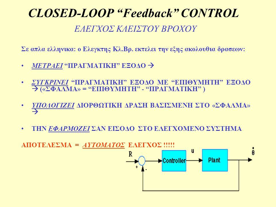 "CLOSED-LOOP ""Feedback"" CONTROL ΕΛΕΓΧΟΣ ΚΛΕΙΣΤΟΥ ΒΡΟΧΟΥ Σε απλα ελληνικα: ο Ελεγκτης Κλ.Βρ. εκτελει την εξης ακολουθια δρασεων: ΜΕΤΡΑΕΙ ""ΠΡΑΓΜΑΤΙΚΗ"" ΕΞ"