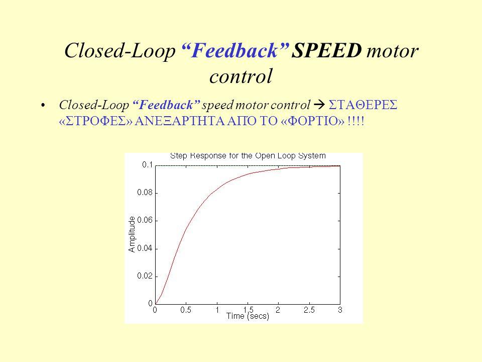 """Closed-Loop """"Feedback"""" SPEED motor control Closed-Loop """"Feedback"""" speed motor control  ΣΤΑΘΕΡΕΣ «ΣΤΡΟΦΕΣ» ΑΝΕΞΑΡΤΗΤΑ ΑΠΌ ΤΟ «ΦΟΡΤΙΟ» !!!!"""