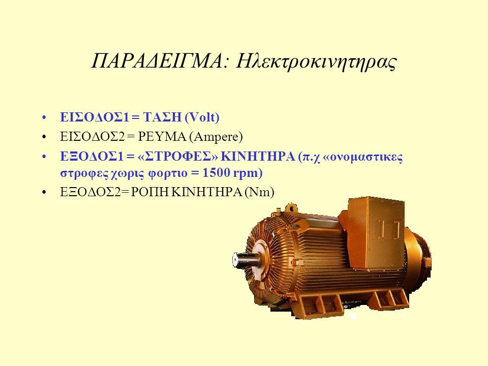 ΠΑΡΑΔΕΙΓΜΑ: Ηλεκτροκινητηρας ΕΙΣΟΔΟΣ1 = ΤΑΣΗ (Volt) ΕΙΣΟΔΟΣ2 = ΡΕΥΜΑ (Ampere) ΕΞΟΔΟΣ1 = «ΣΤΡΟΦΕΣ» ΚΙΝΗΤΗΡΑ (π.χ «ονομαστικες στροφες χωρις φορτιο = 15