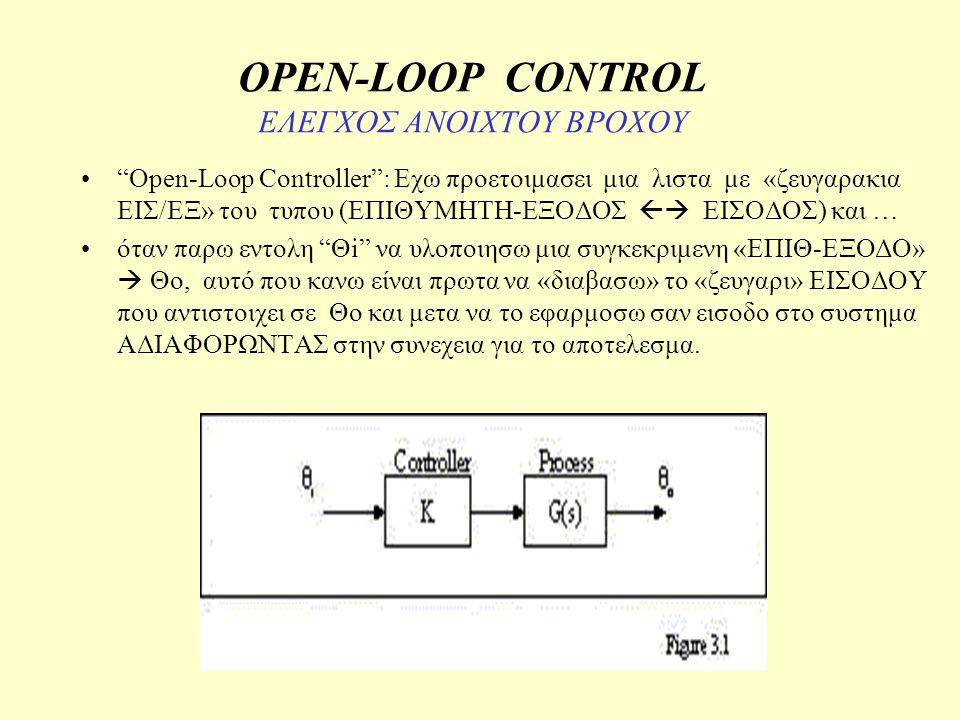 Open-loop motor control OPEN-LOOP ΕΛΕΓΧΟΣ ΤΑΧΥΤΗΤΑΣ (ΕΛΕΓΧΟΣ «ΣΤΡΟΦΩΝ» π.χ μεταφορικος ιμαντας – κινηση αντλιας – κινηση ανεμιστηρα) OPEN-LOOP ΕΛΕΓΧΟΣ ΘΕΣΗΣ ( «σερβομηχανισμος» π.χ Ρομποτ)