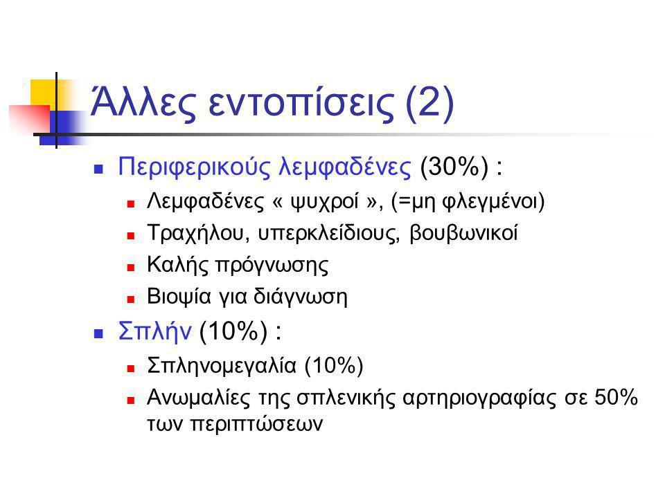 Άλλες εντοπίσεις (2) Περιφερικούς λεμφαδένες (30%) : Λεμφαδένες « ψυχροί », (=μη φλεγμένοι) Τραχήλου, υπερκλείδιους, βουβωνικοί Καλής πρόγνωσης Βιοψία