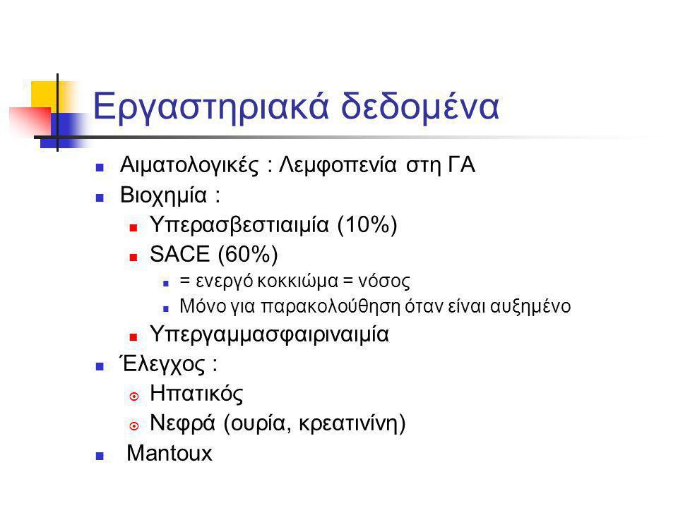 Εργαστηριακά δεδομένα Αιματολογικές : Λεμφοπενία στη ΓΑ Βιοχημία : Υπερασβεστιαιμία (10%) SACE (60%) = ενεργό κοκκιώμα = νόσος Μόνο για παρακολούθηση