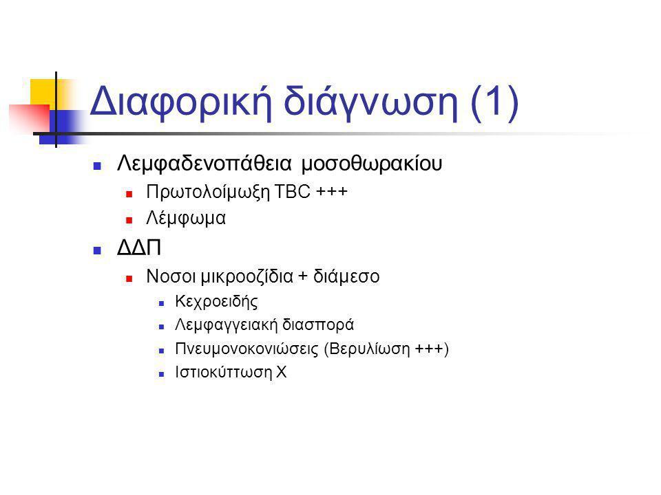 Διαφορική διάγνωση (1) Λεμφαδενοπάθεια μοσοθωρακίου Πρωτολοίμωξη TBC +++ Λέμφωμα ΔΔΠ Νοσοι μικροοζίδια + διάμεσο Κεχροειδής Λεμφαγγειακή διασπορά Πνευ