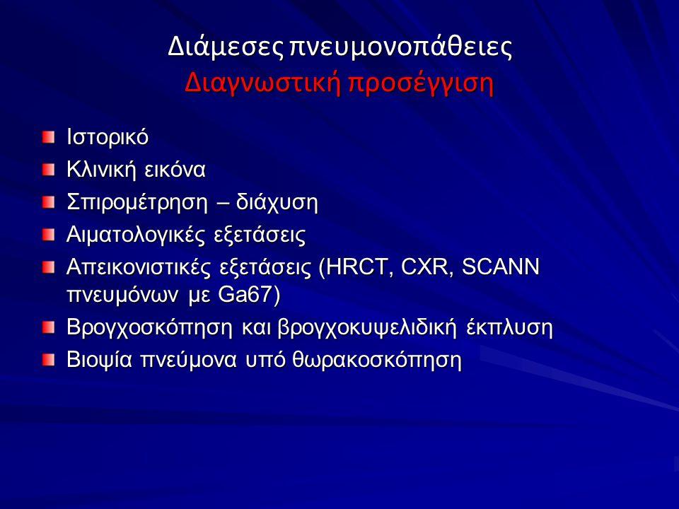 Διάμεσες πνευμονοπάθειες Διαγνωστική προσέγγιση Ιστορικό Κλινική εικόνα Σπιρομέτρηση – διάχυση Αιματολογικές εξετάσεις Απεικονιστικές εξετάσεις (HRCT, CXR, SCANN πνευμόνων με Ga67) Βρογχοσκόπηση και βρογχοκυψελιδική έκπλυση Βιοψία πνεύμονα υπό θωρακοσκόπηση