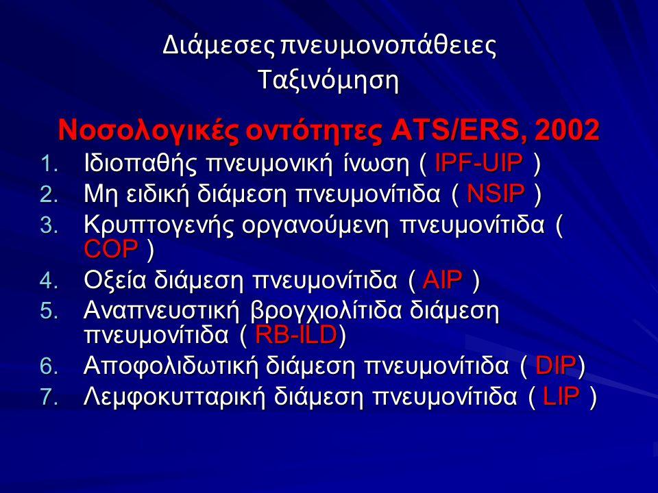 Διάμεσες πνευμονοπάθειες κλινική εικόνα ΣυμπτώματαΔύσπνοια Βήχας ξηρός ΑιμόπτυσηΣυριγμός Θωρακικό άλγος, μυοσκελετικά άλγη Αδυναμία, κόπωση Πυρετός Φαινόμενο Raynaud, ξηροφθαλμία, ξηροστομία (συμπτώματα που συνδέονται με παθήσεις του κολλαγόνου)