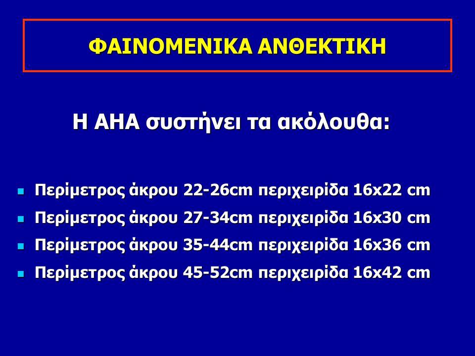 ΦΑΙΝΟΜΕΝΙΚΑ ΑΝΘΕΚΤΙΚΗ Η ΑΗΑ συστήνει τα ακόλουθα: Περίμετρος άκρου 22-26cm περιχειρίδα 16x22 cm Περίμετρος άκρου 22-26cm περιχειρίδα 16x22 cm Περίμετρ
