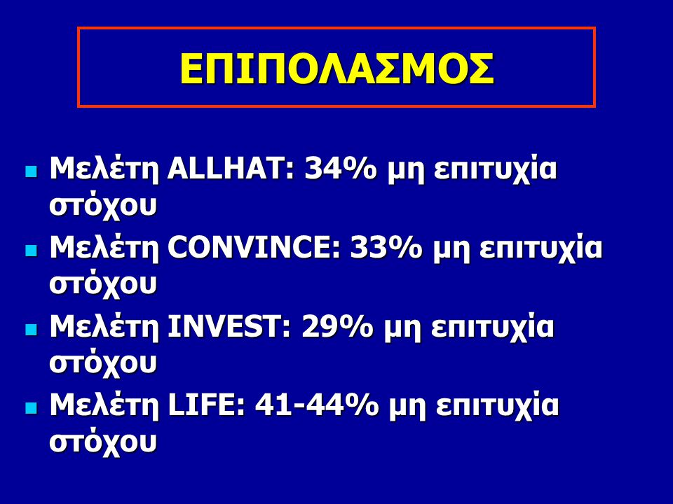 ΕΠΙΠΟΛΑΣΜΟΣ Μελέτη ALLHAΤ: 34% μη επιτυχία στόχου Μελέτη ALLHAΤ: 34% μη επιτυχία στόχου Μελέτη CONVINCE: 33% μη επιτυχία στόχου Μελέτη CONVINCE: 33% μ