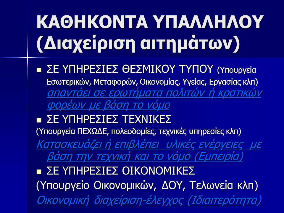 ΚΑΘΗΚΟΝΤΑ ΥΠΑΛΛΗΛΟΥ (Διαχείριση αιτημάτων) ΣΕ ΥΠΗΡΕΣΙΕΣ ΘΕΣΜΙΚΟΥ ΤΥΠΟΥ (Υπουργεία Εσωτερικών, Μεταφορών, Οικονομίας, Υγείας, Εργασίας κλπ) απαντάει σε
