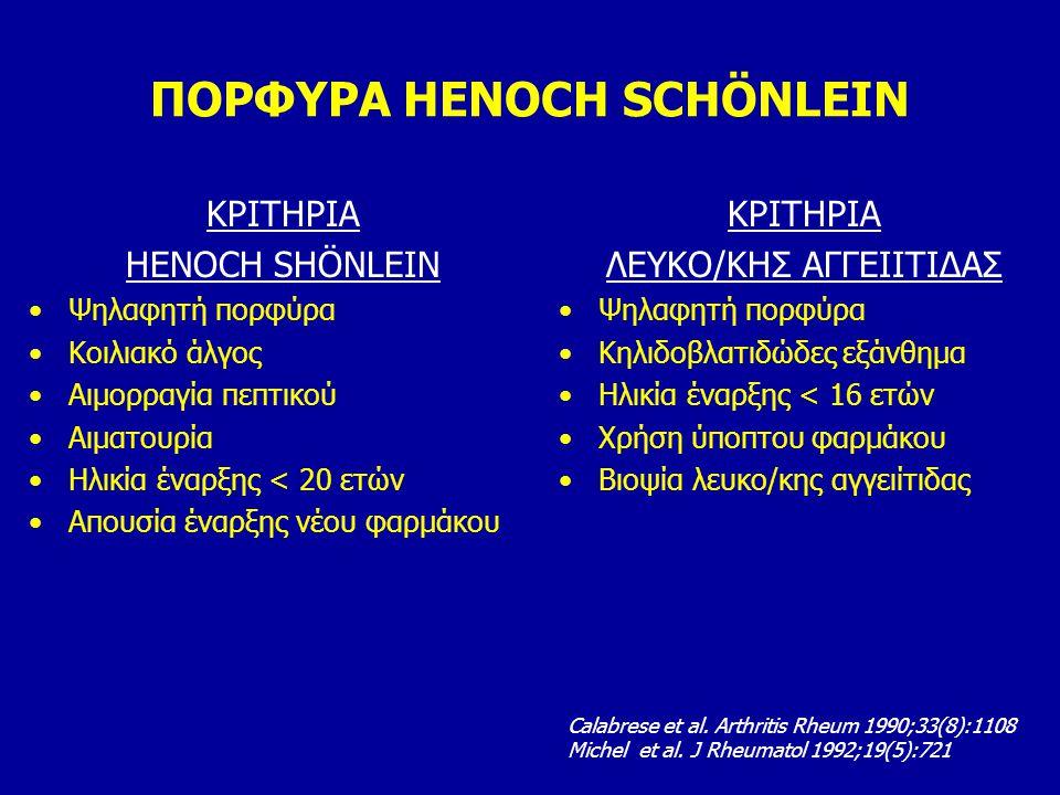 ΠΟΡΦΥΡΑ HENOCH SCHÖNLEIN ΚΡΙΤΗΡΙΑ HENOCH SHÖNLEIN Ψηλαφητή πορφύρα Κοιλιακό άλγος Αιμορραγία πεπτικού Αιματουρία Ηλικία έναρξης < 20 ετών Απουσία έναρ