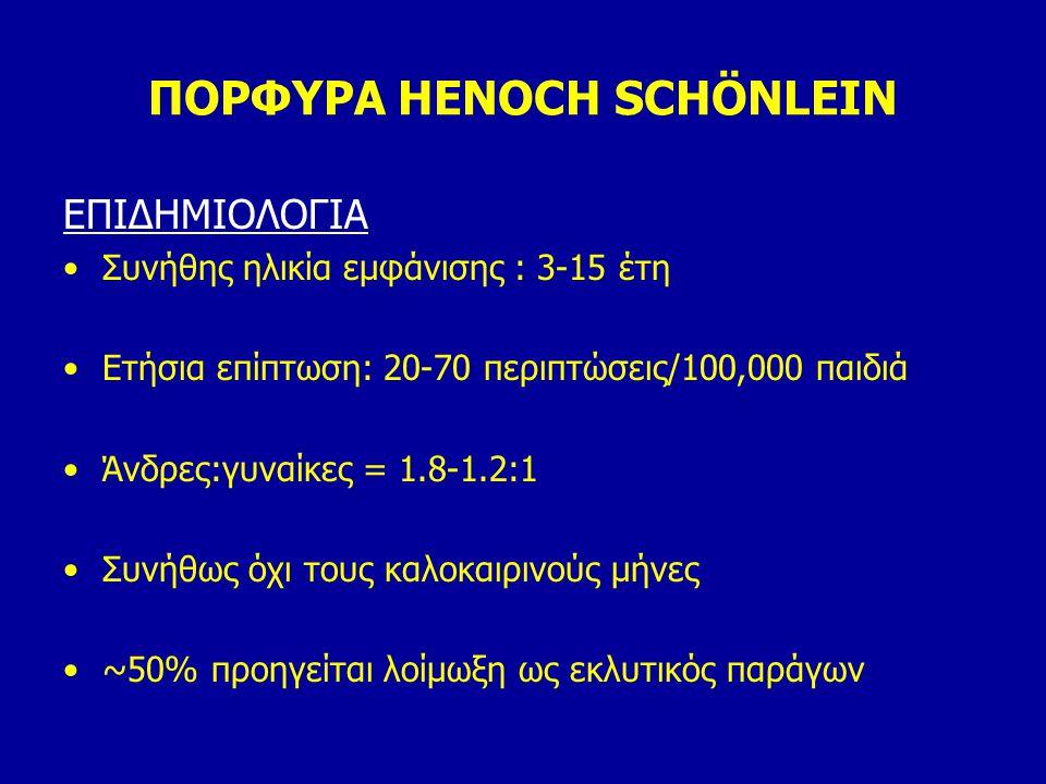 ΠΟΡΦΥΡΑ HENOCH SCHÖNLEIN ΕΠΙΔΗΜΙΟΛΟΓΙΑ Συνήθης ηλικία εμφάνισης : 3-15 έτη Ετήσια επίπτωση: 20-70 περιπτώσεις/100,000 παιδιά Άνδρες:γυναίκες = 1.8-1.2