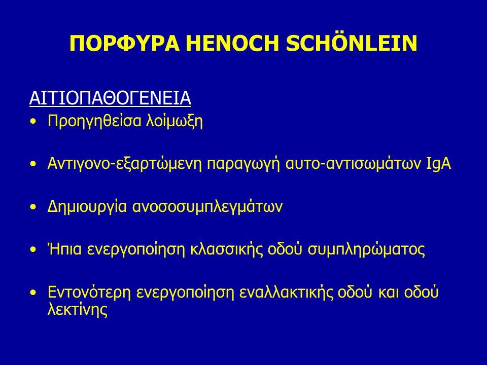 ΠΟΡΦΥΡΑ HENOCH SCHÖNLEIN ΑΙΤΙΟΠΑΘΟΓΕΝΕΙΑ Προηγηθείσα λοίμωξη Αντιγονο-εξαρτώμενη παραγωγή αυτο-αντισωμάτων IgA Δημιουργία ανοσοσυμπλεγμάτων Ήπια ενεργ