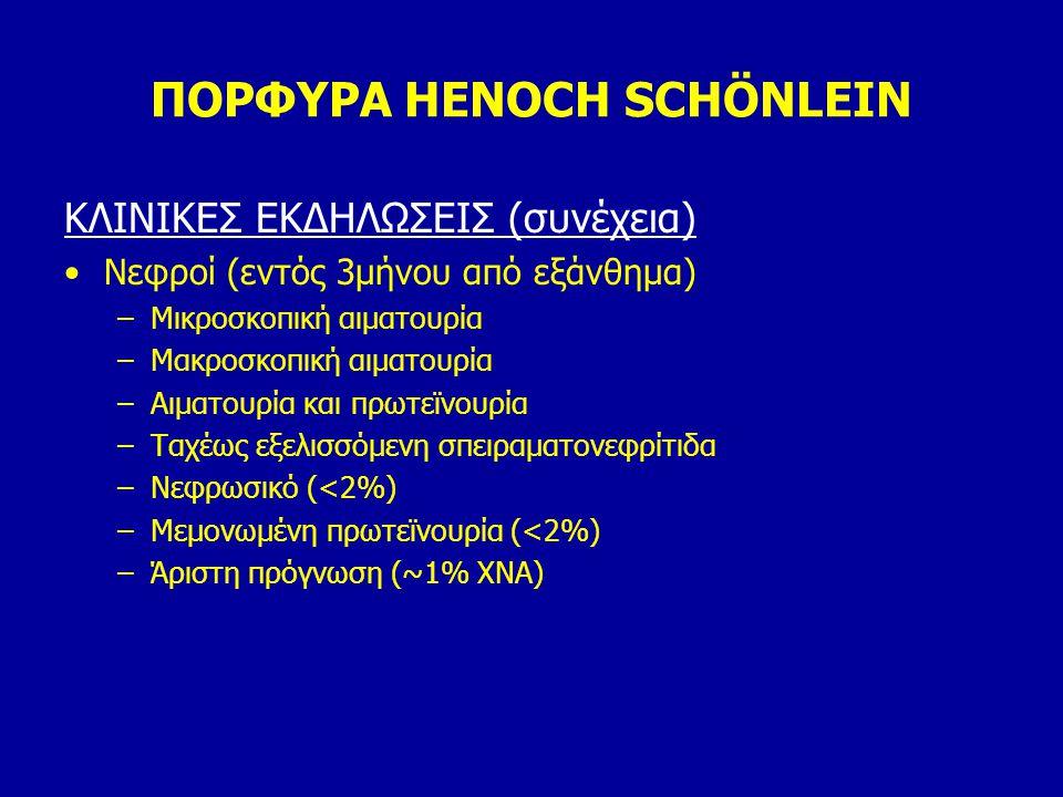 ΠΟΡΦΥΡΑ HENOCH SCHÖNLEIN ΚΛΙΝΙΚΕΣ ΕΚΔΗΛΩΣΕΙΣ (συνέχεια) Νεφροί (εντός 3μήνου από εξάνθημα) –Μικροσκοπική αιματουρία –Μακροσκοπική αιματουρία –Αιματουρ